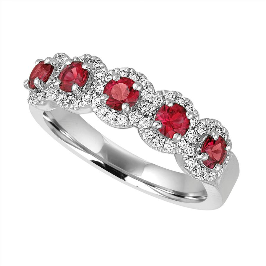 View Five Stone Round Ruby And Diamond Halo Band