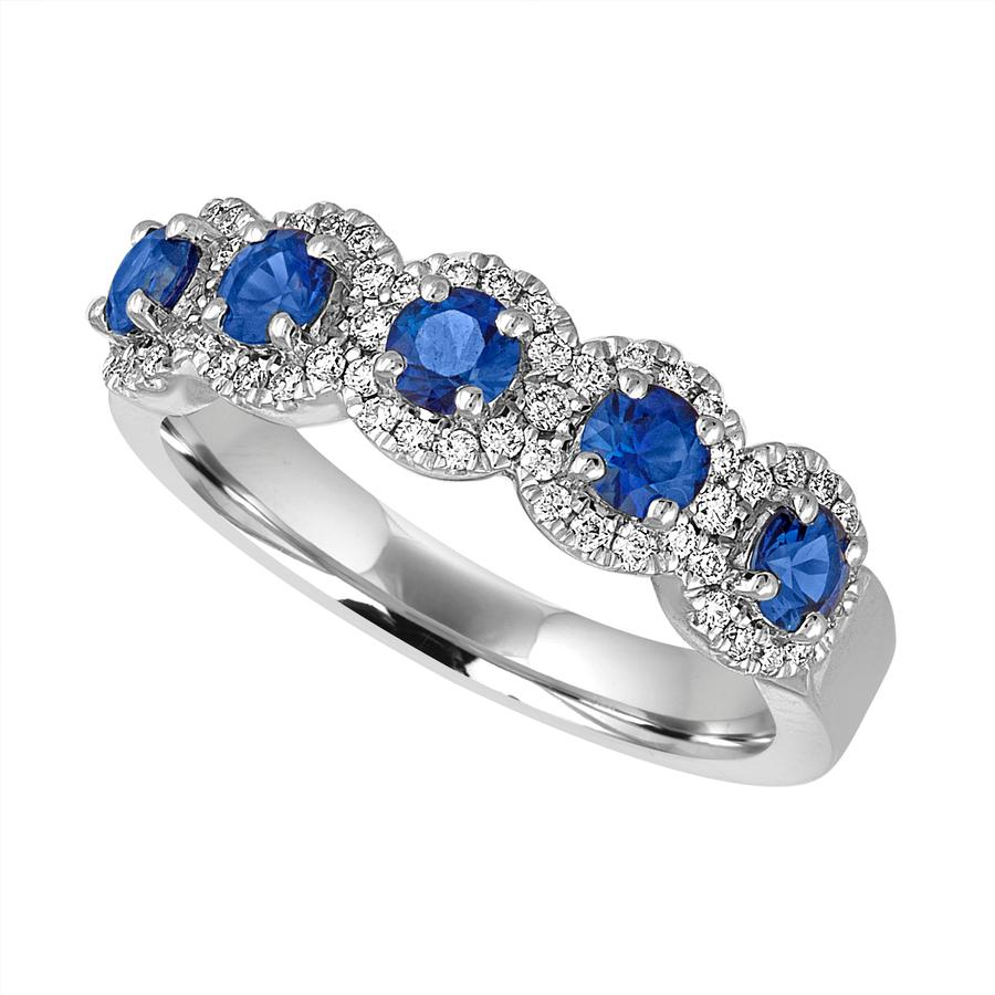 View Five Stone Round Sapphire And Diamond Halo Band