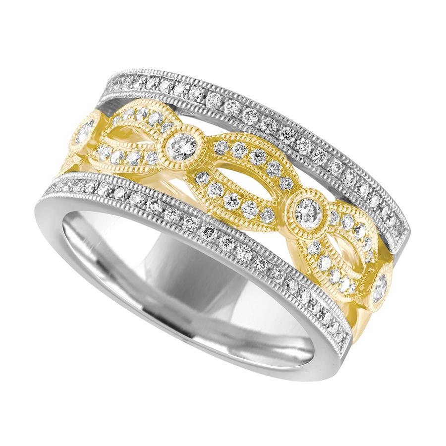 View Yellow and White Gold Diamond Band