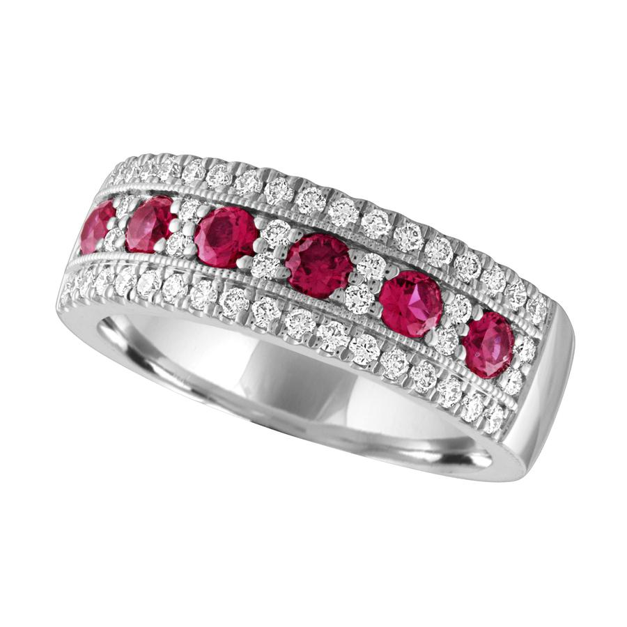 View Round Diamond Fashion Band with Ruby Center Row