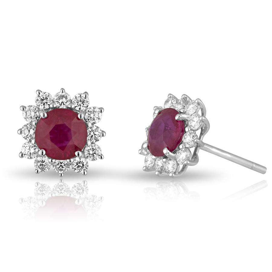 View Ruby & Round Diamond Princess Di Style Earrings