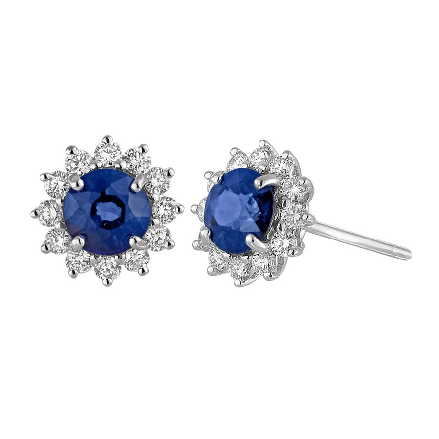 View Sapphire & Round Diamond Princess Di Style Earrings