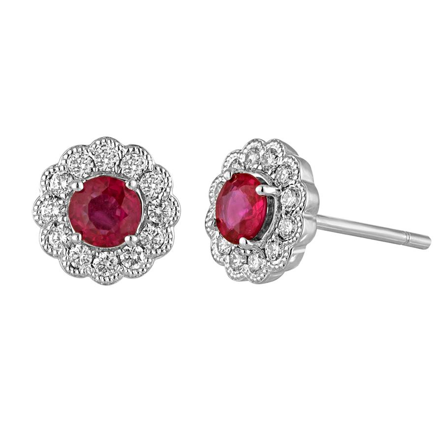 View Bezel Set Round Diamond Earrings with Milgrain Edging and Round Ruby Center