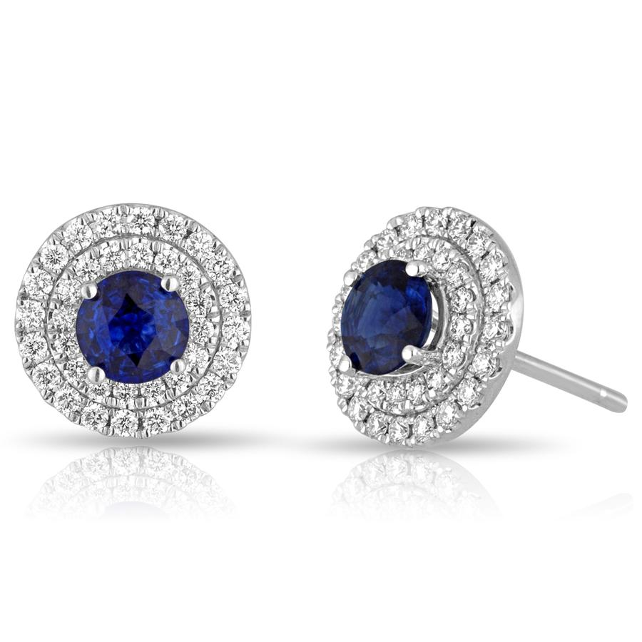 View Sapphire & Round Diamond Double Halo Earrings