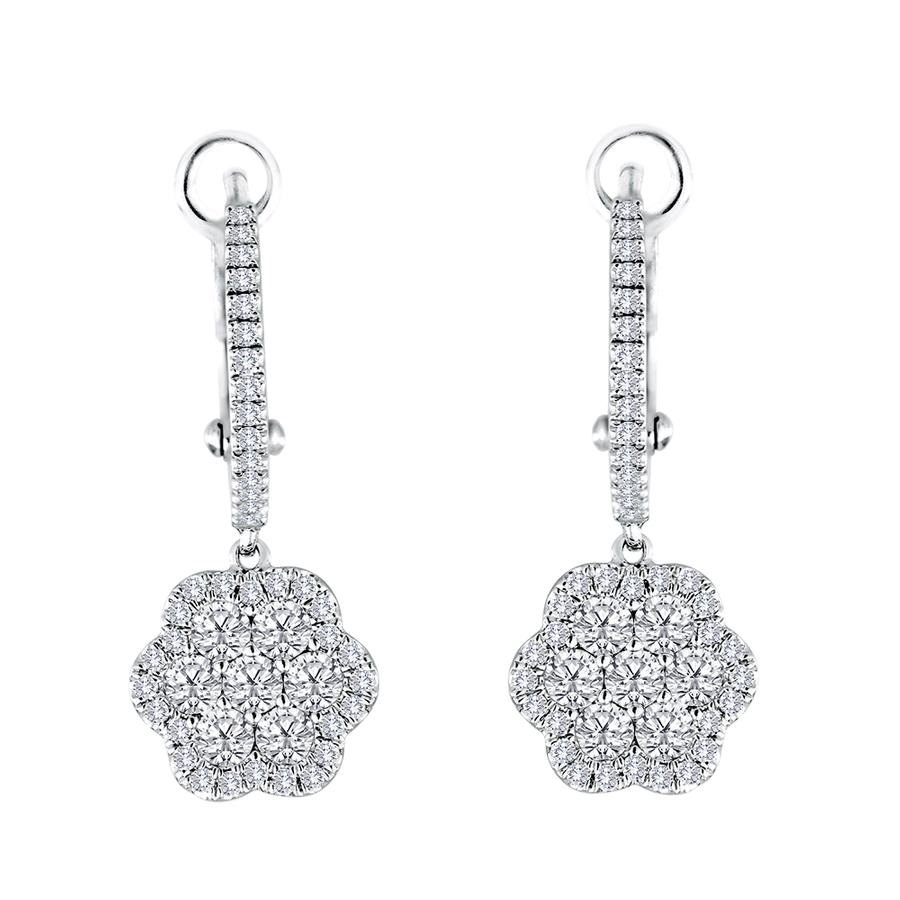 View Diamond Flower Drop Earrings