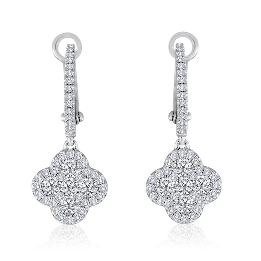 View Diamond Clover Drop Earrings