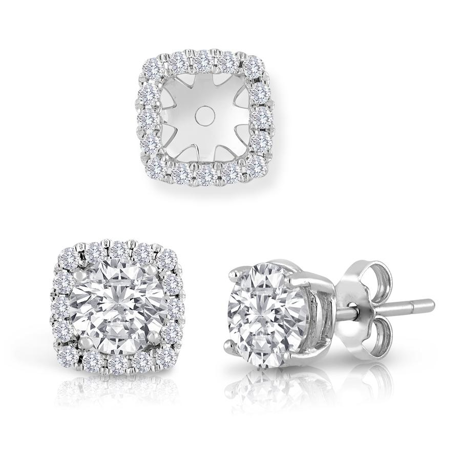 View Cushion Frame Diamond Earring Jackets