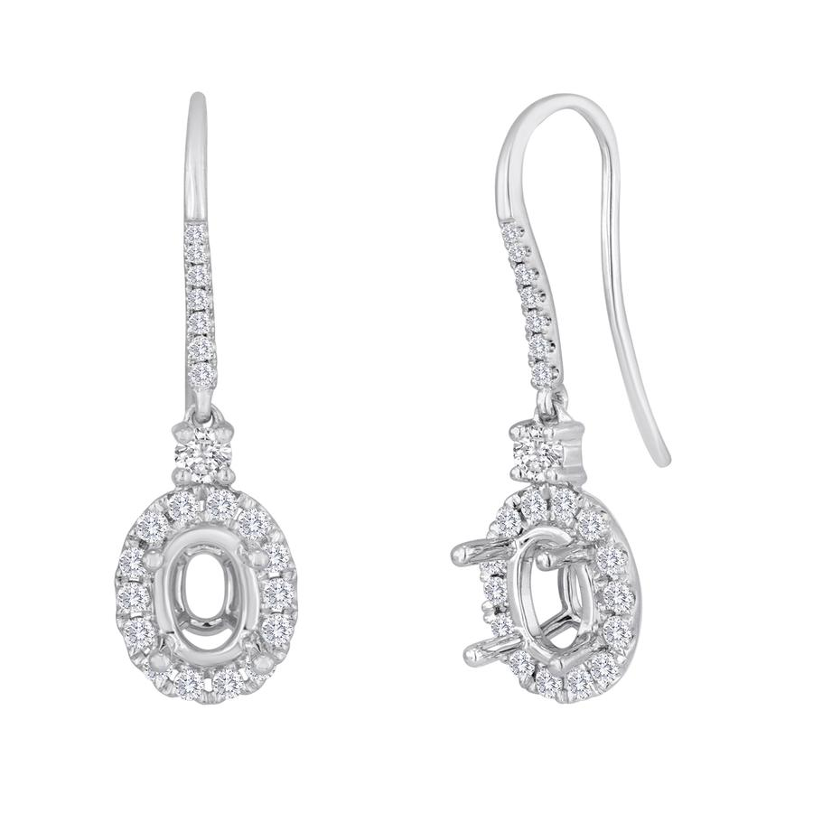 View Oval Diamond Halo Drop Earrings