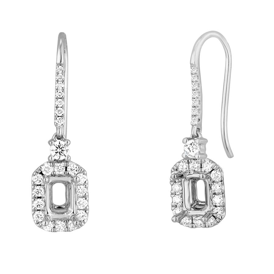 View Emerald Cut Diamond Halo Drop Earrings