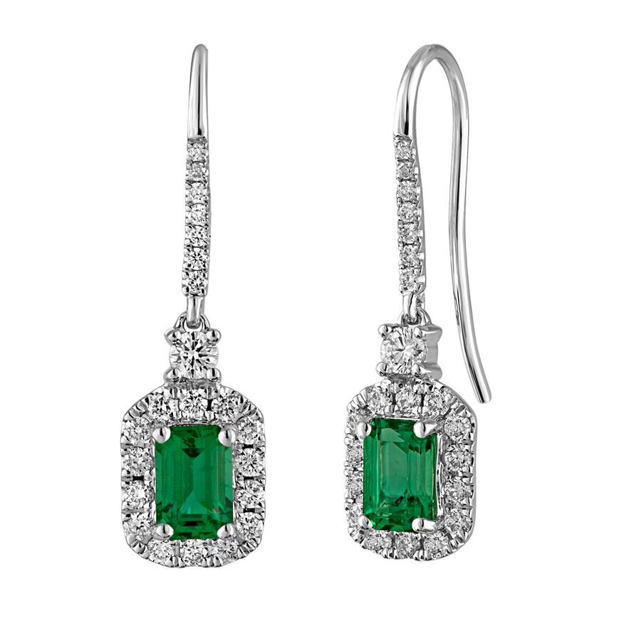 View Diamond Halo Drop Earrings With Emerald Cut Emerald Center