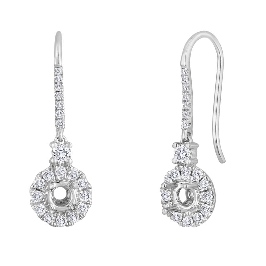 View Round Diamond Halo Drop Earrings.