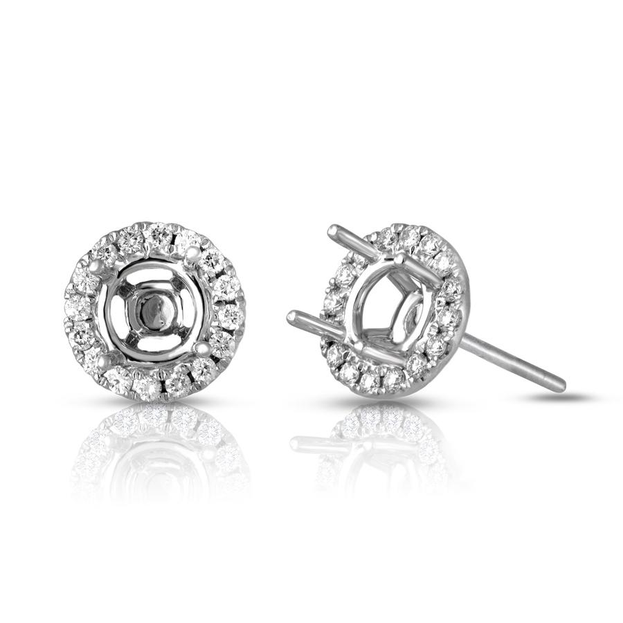View Round Diamond Stud Halo Earrings