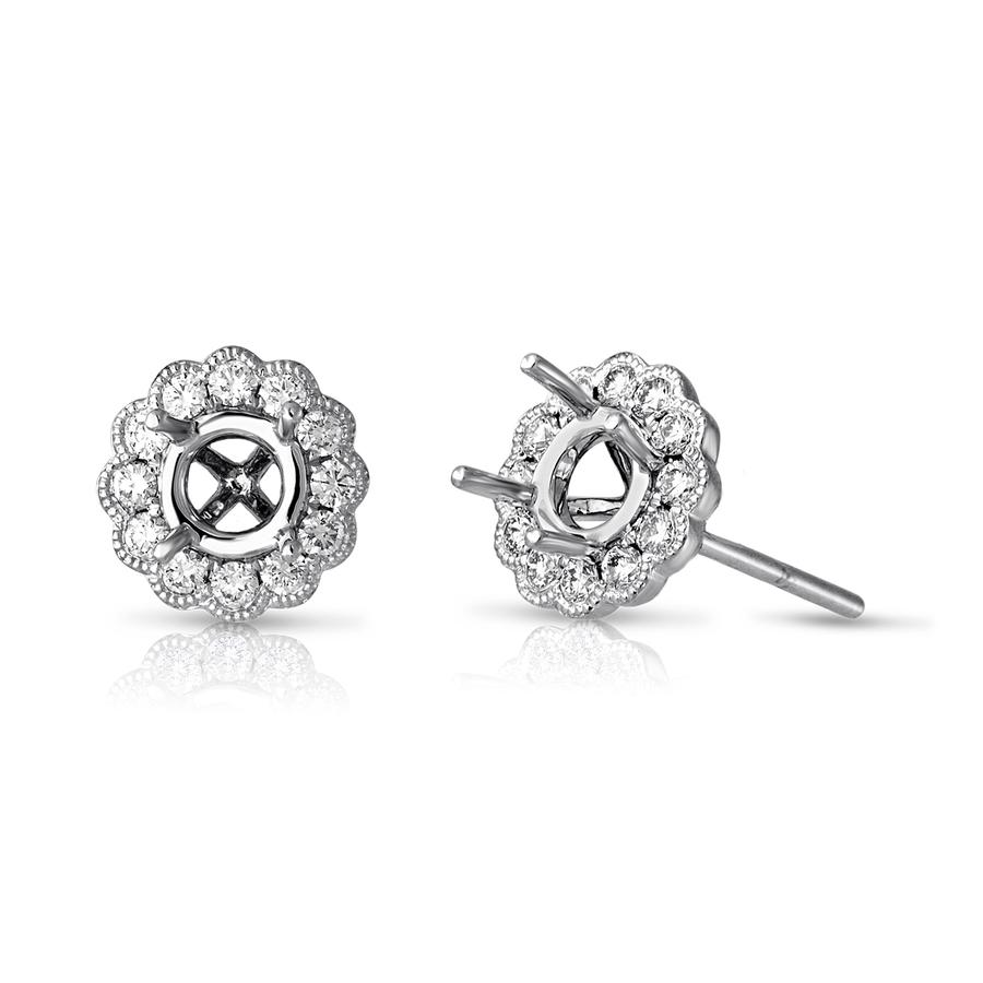 View Bezel Set Round Diamond Earrings with Milgrain Edging