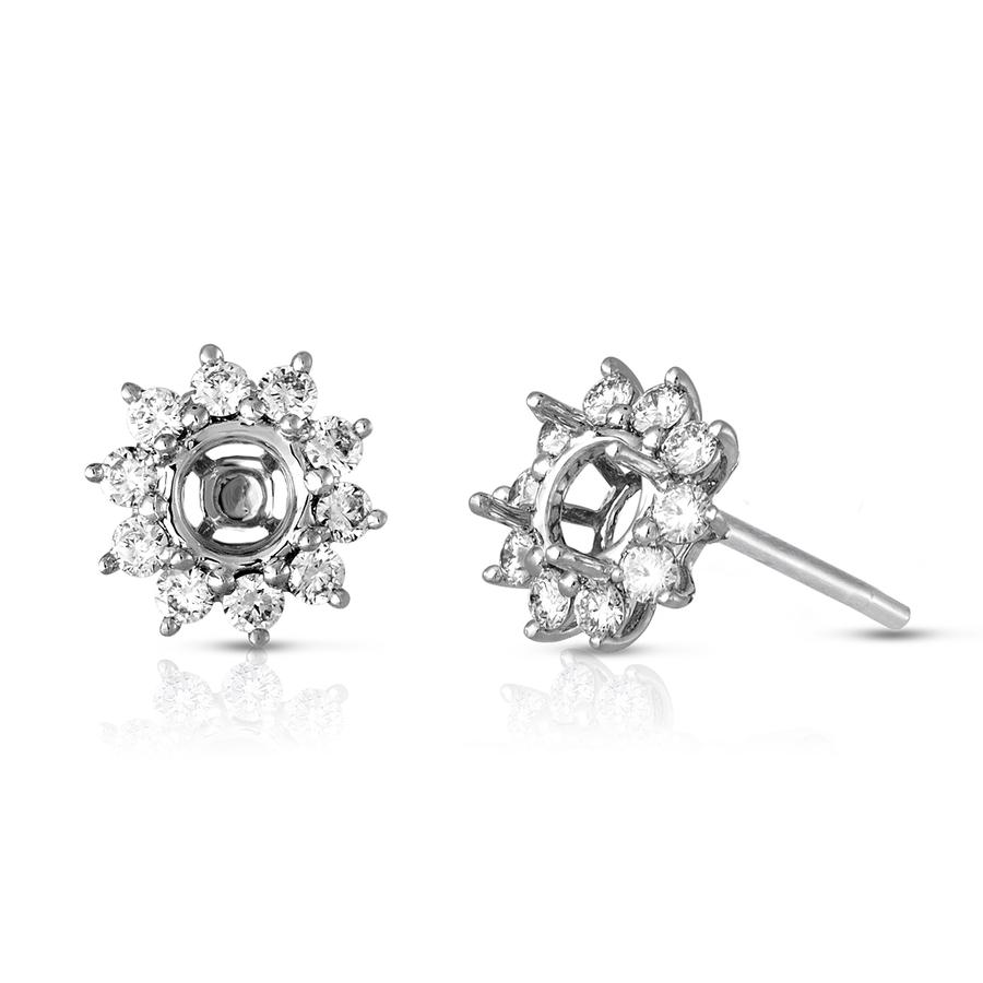 View Round Diamond Princess Di Style Earrings