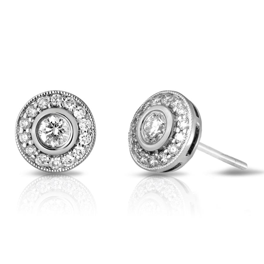 View Round Diamond Bezel Set Earrings with Pave Halo