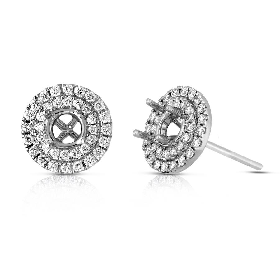 View Double Halo Round Diamond Earrings