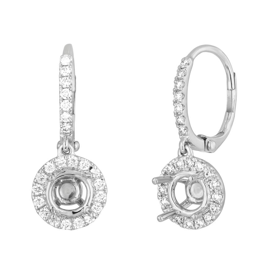 View Round Diamond Halo Drop Earrings