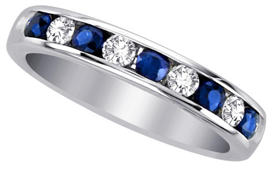 View Sapphire & Diamond Channel Set Band