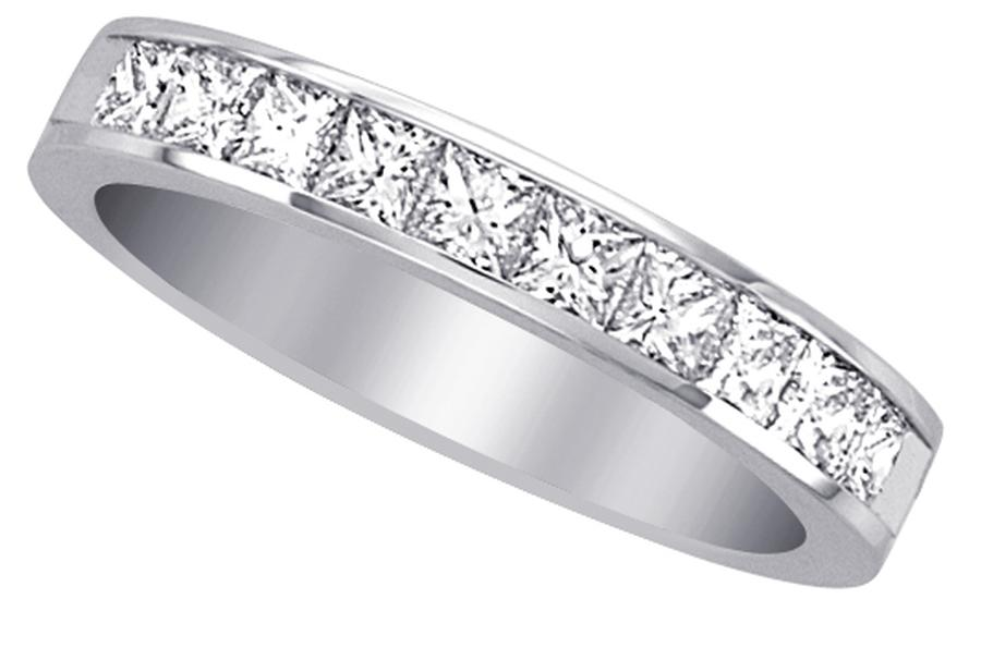 View Channel Set Princess Cut Diamond Half Way Band