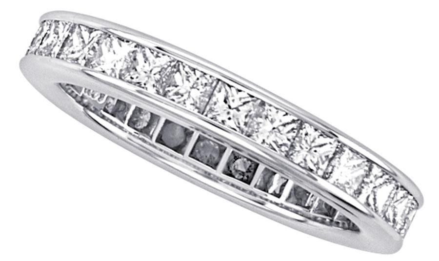 View Channel Set Princess Cut Diamond Eternity Band