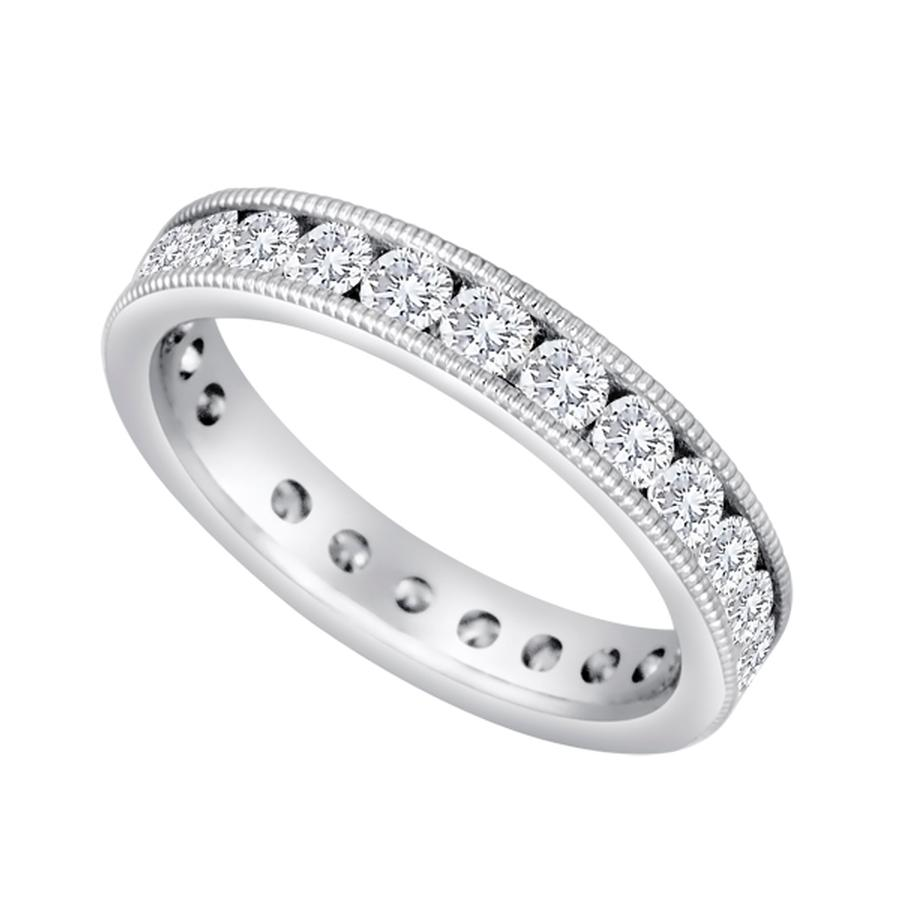 View Channel Set Round Diamond Eternity Band With Milgrain Edging