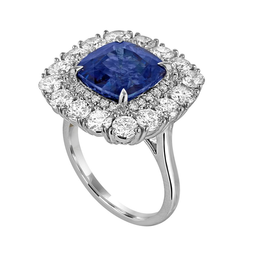 View Cushion Cut Sapphire & Diamond Ring