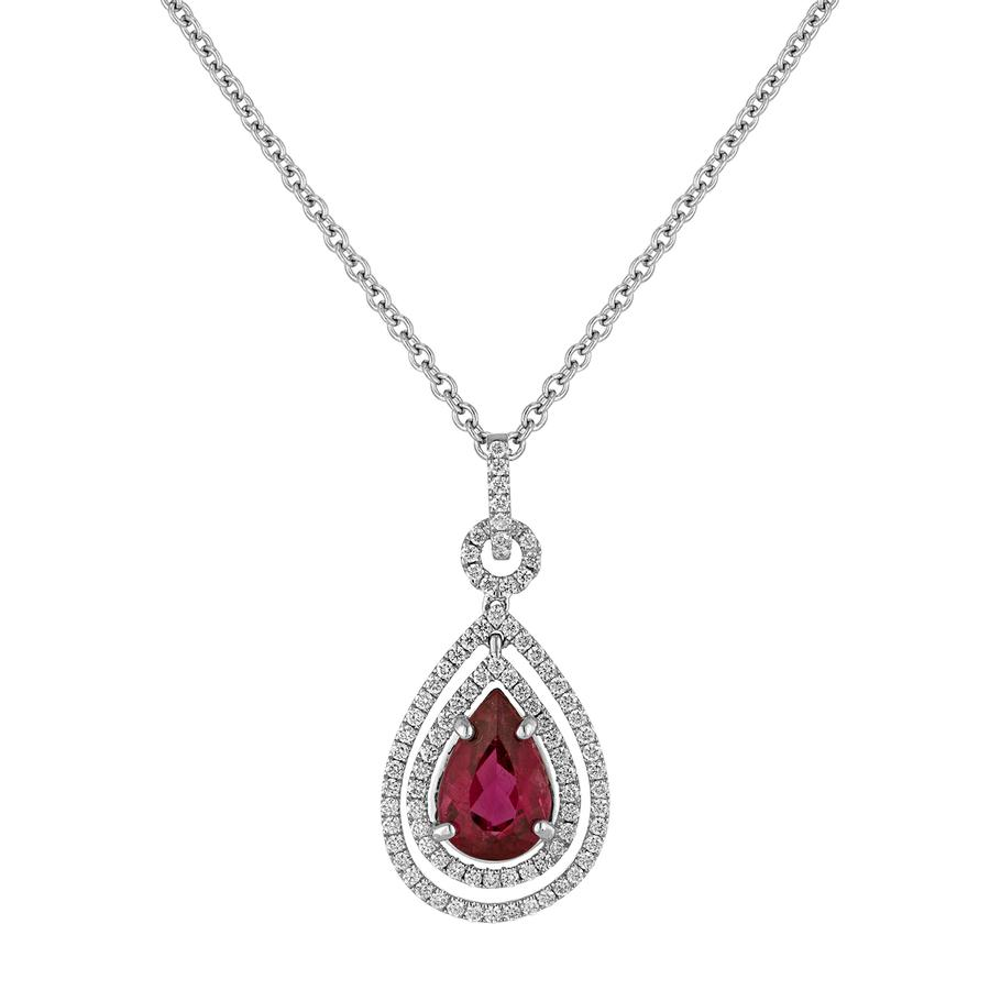 View Double Halo Diamond Drop Pendant with Rubalite Center