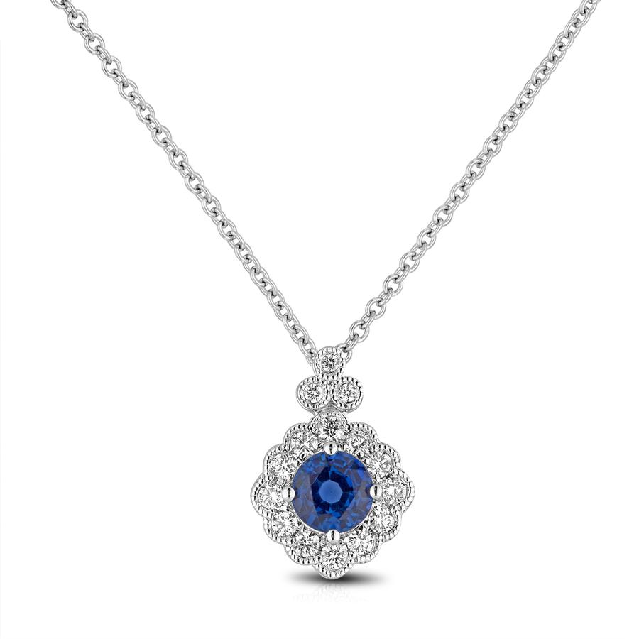 View Sapphire & Diamond Bezel Set Round Diamond Pendant with milgrain edging
