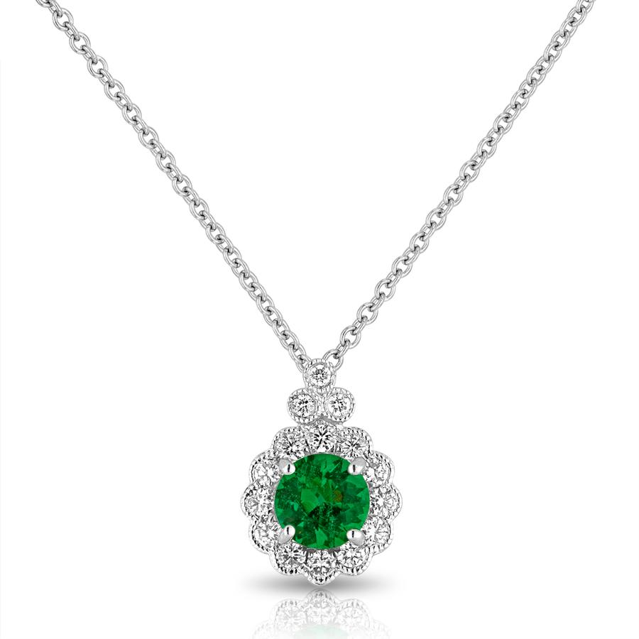 View Emerald & Round Diamond Bezel Set Pendant with Milgrain Edging