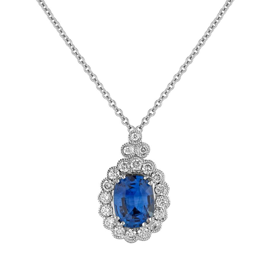 View Bezel Set Round Diamond Pendant with Milgrain Edging and Cushion Sapphire Center Stone