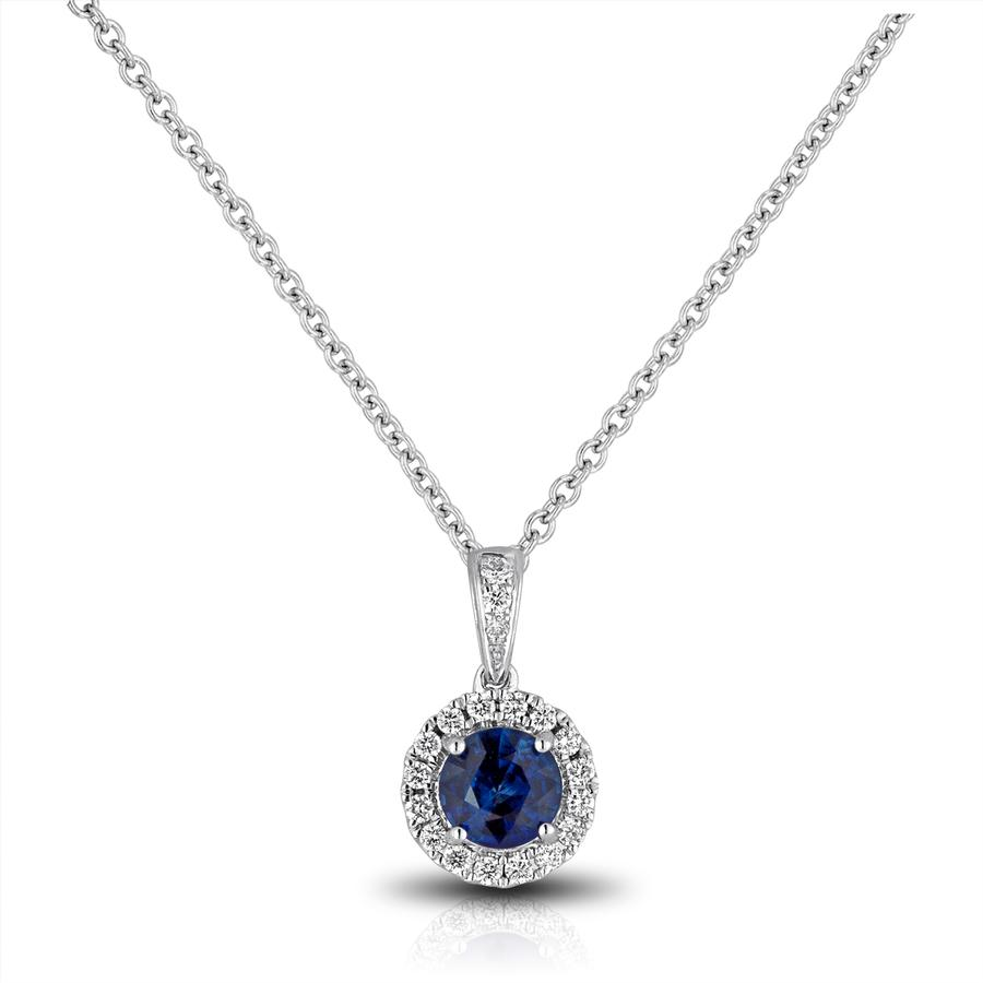 View Sapphire & Round Diamond Halo Pendant With Bail