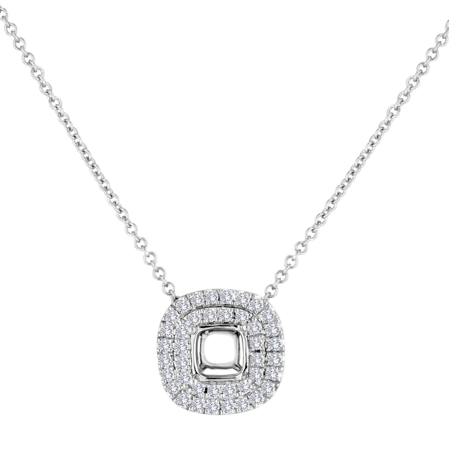 View Double Halo Cushion Frame Pendant