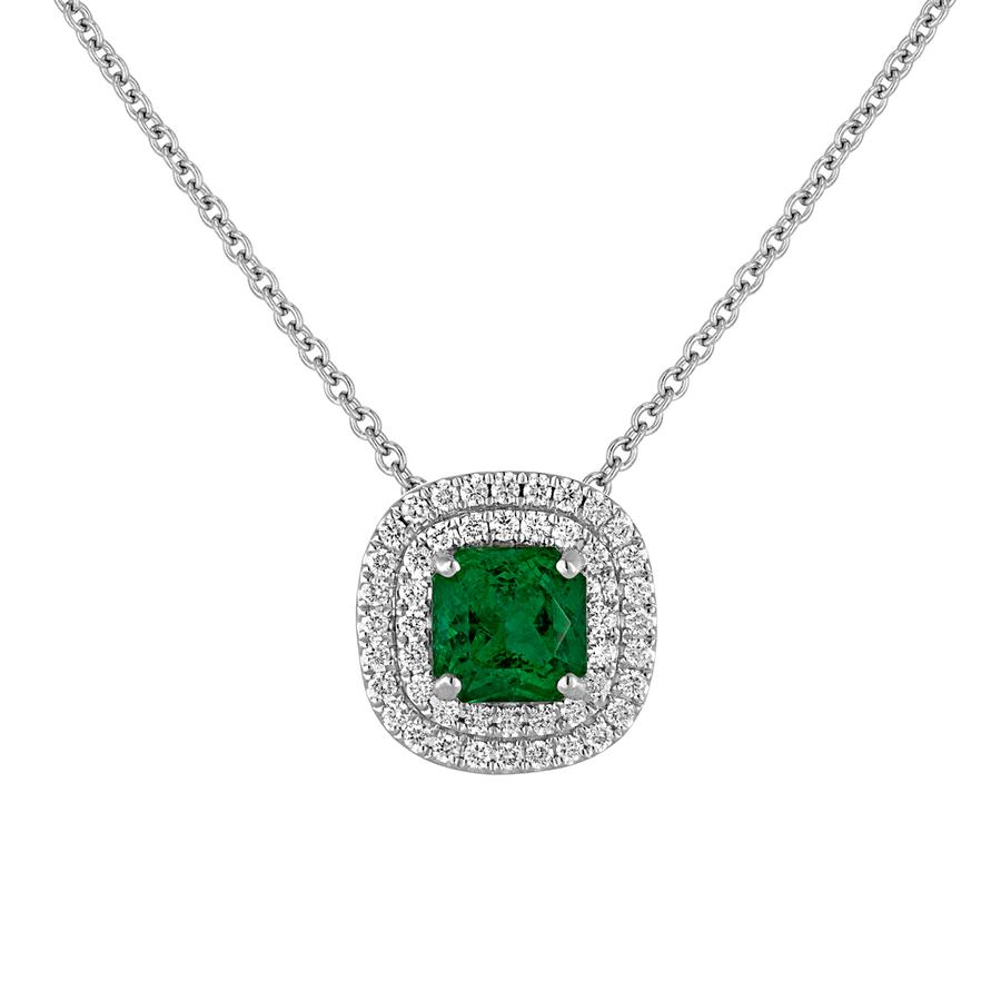 View Double Halo Cushion Frame Pendant And Cushion Emerald Center