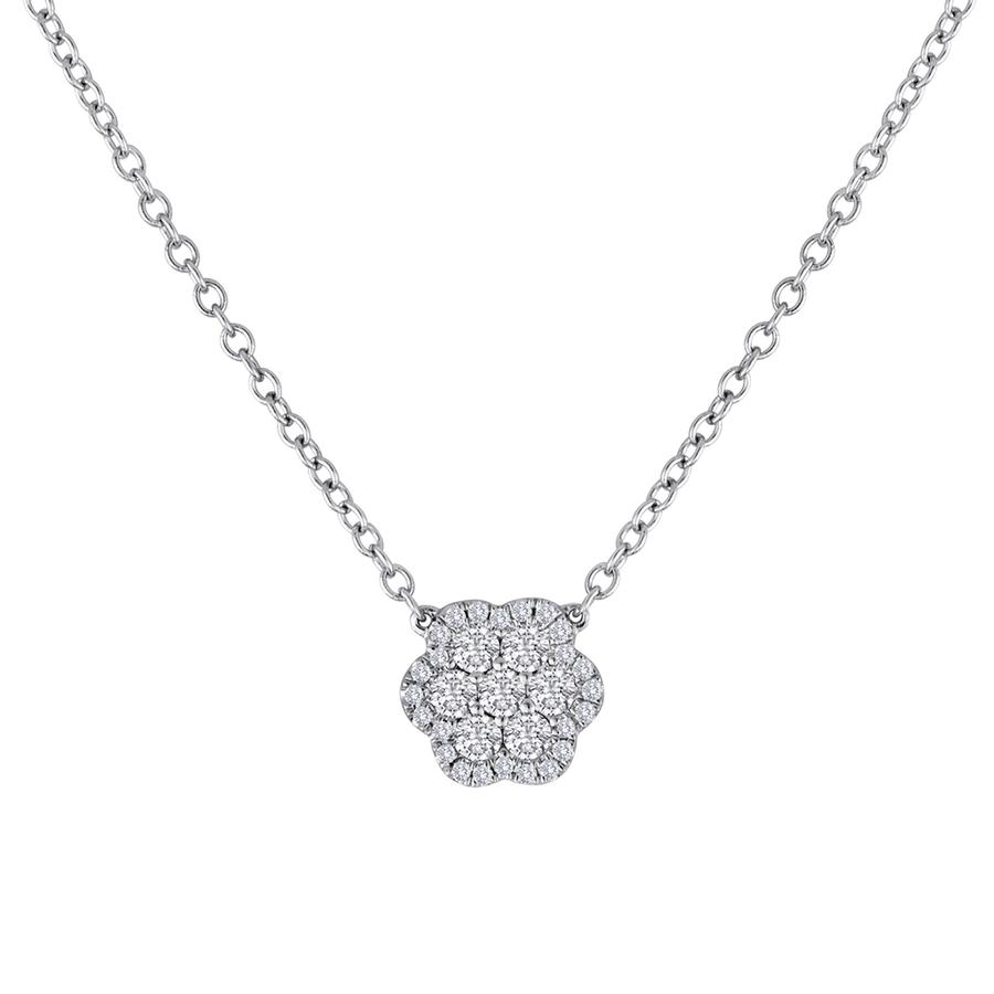 View Round Diamond Flower Pendant with Attached Chain