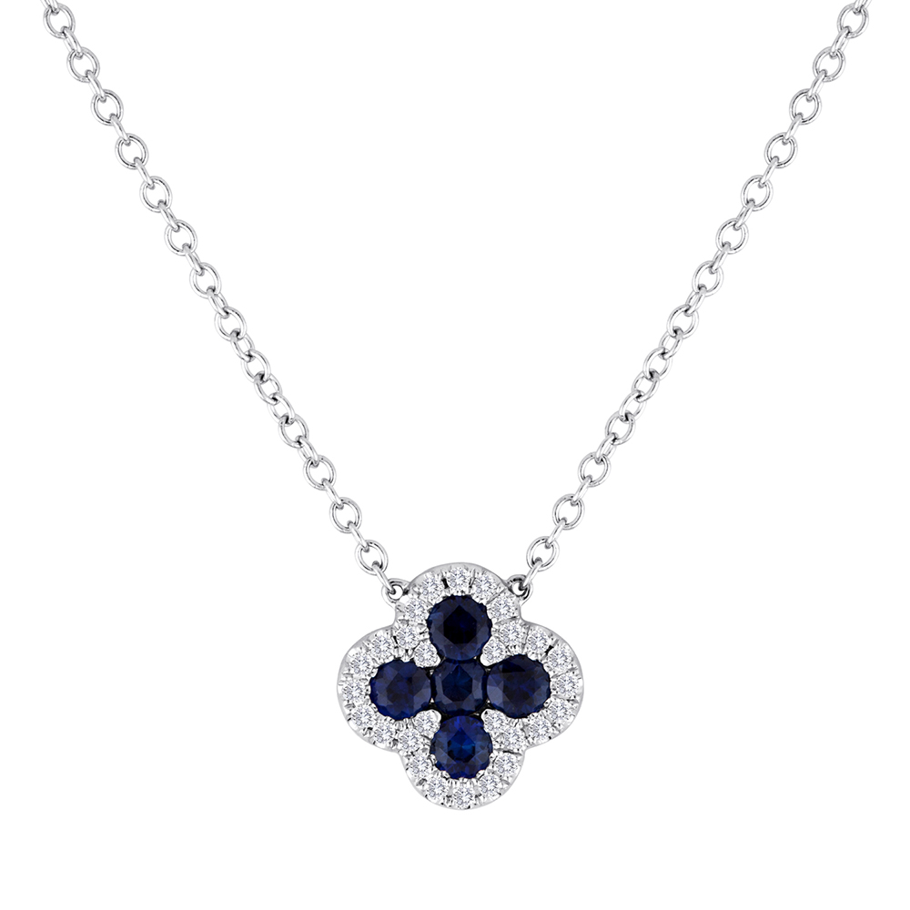 View Sapphire and Diamond Clover Pendant with Attached Chain
