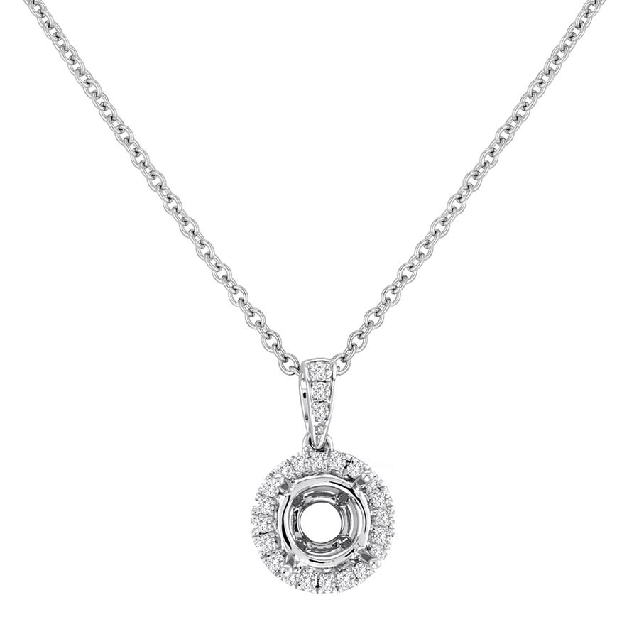 View Round Diamond Halo Pendant With Bail