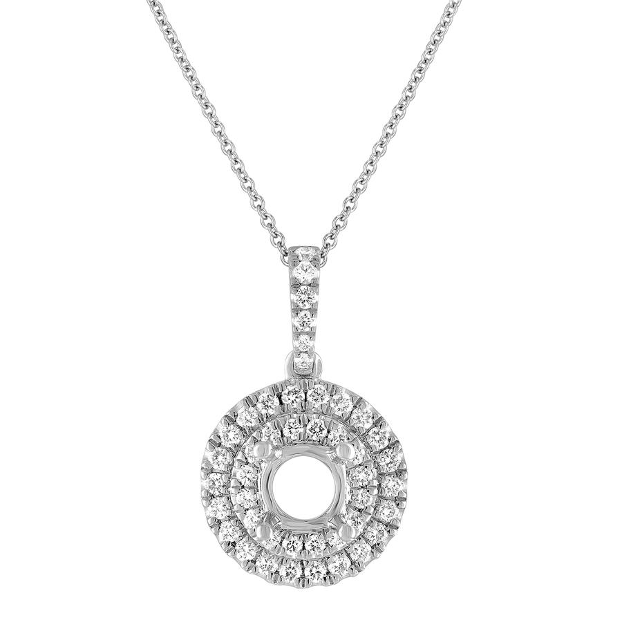 View Round Diamond Double Halo Pendant