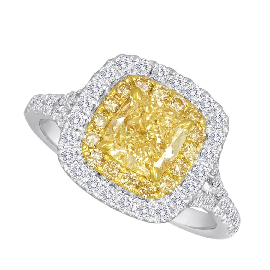 View Fancy Yellow & Diamond Double Halo Ring