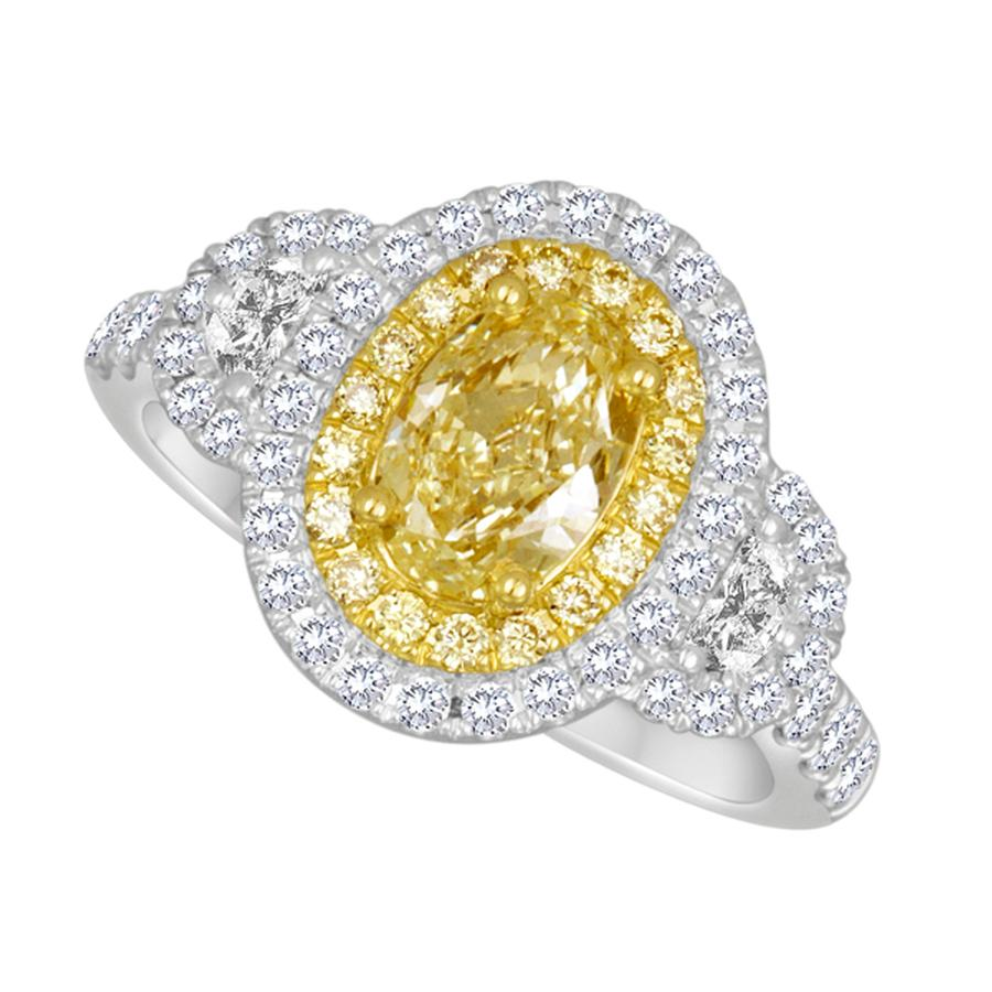 View Yellow & White Diamond Double Halo Three Stone Ring