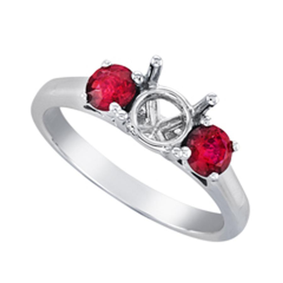 View Three Stone Round Ruby Flush Fit Ring