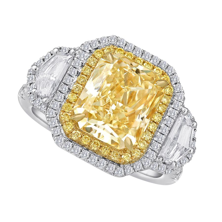 View Yellow Cushion & Opulate Three Stone Ring