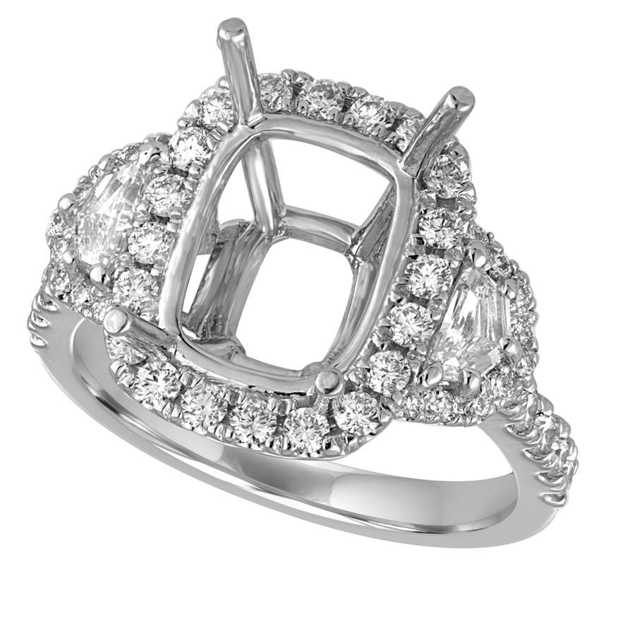 View Cushion Frame Diamond Semi Mounting with Opulate Side Stones And Diamond Shank
