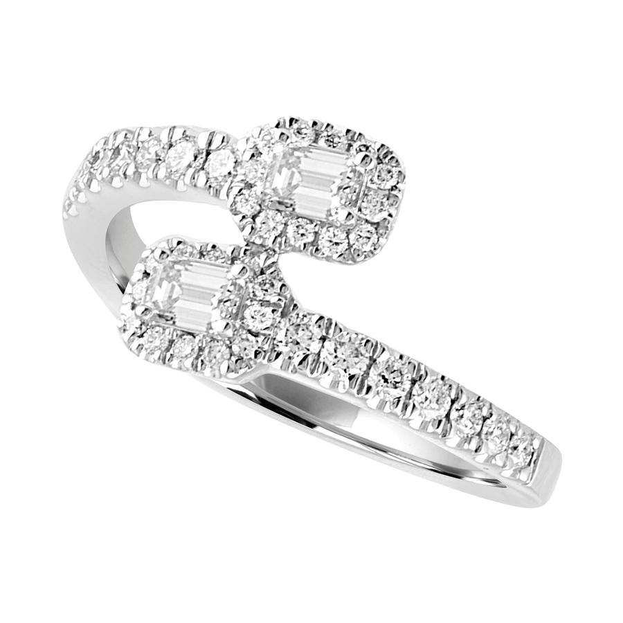 View Emerald Cut & Round Diamond Bypass Ring
