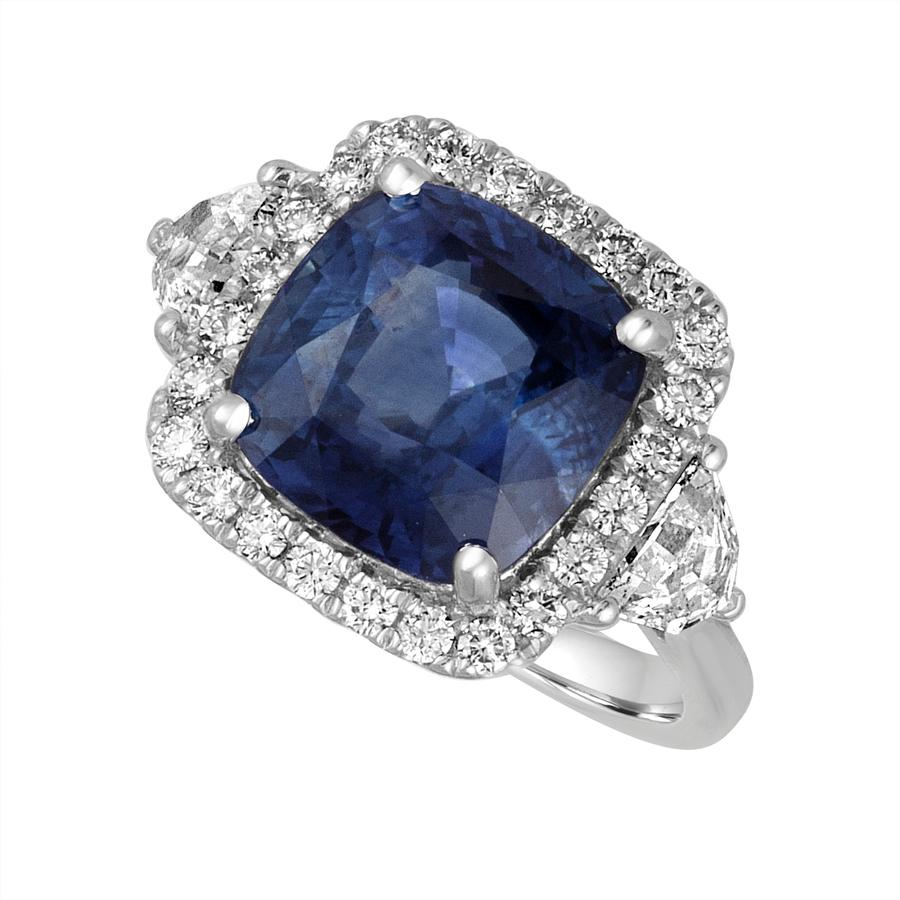 View Cushion Sapphire & Opulate Diamond Ring