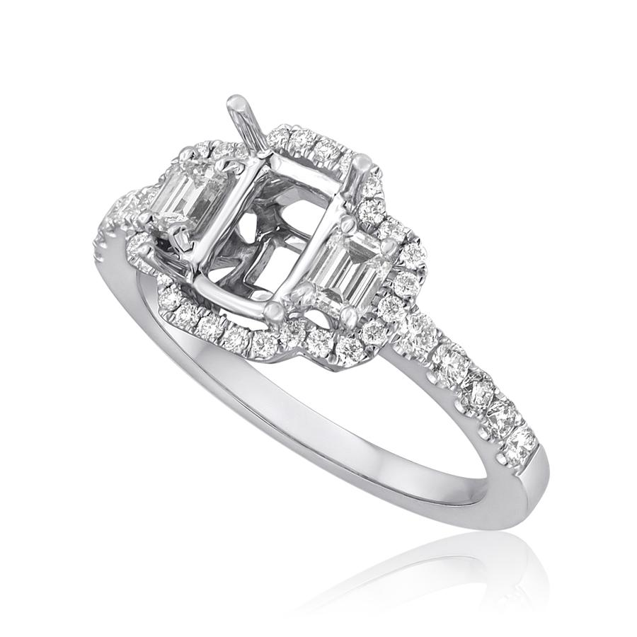 View Three Stone Emerald Cut Diamond Semi Mounting