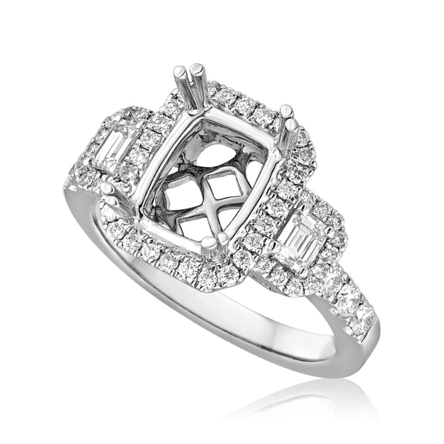 View Three Stone Emerald Cut Halo Ring