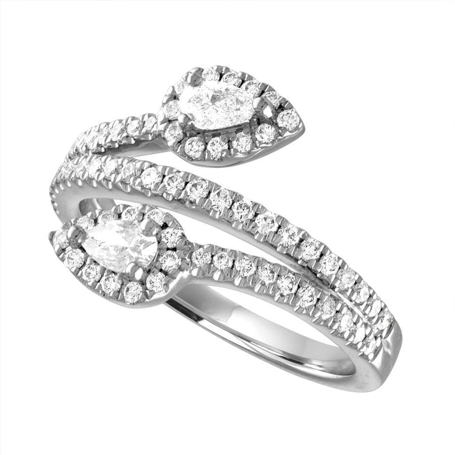View Pear Shape Diamond By Pass Ring