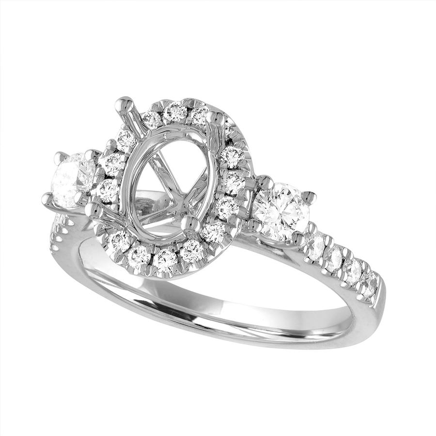 View Halo Diamond Ring for Oval Center