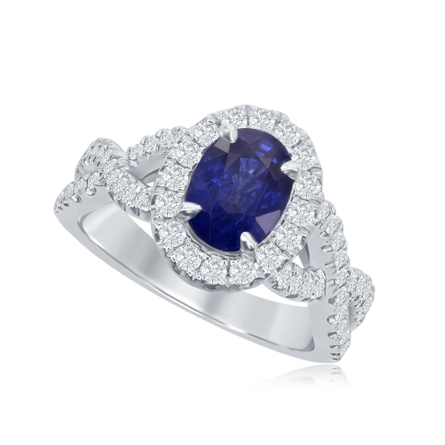 View Oval Sapphire Ring with Twist Shank