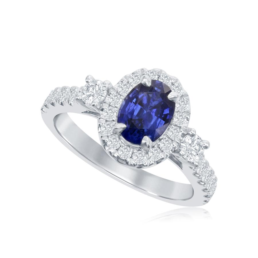 View Oval Sapphire Ring with Round Diamond Accents